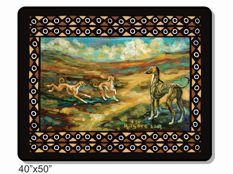"The dog of the Sahara ""Azawakh Sunrise"" 50x40 inch fleece throw with traditional mud cloth design"